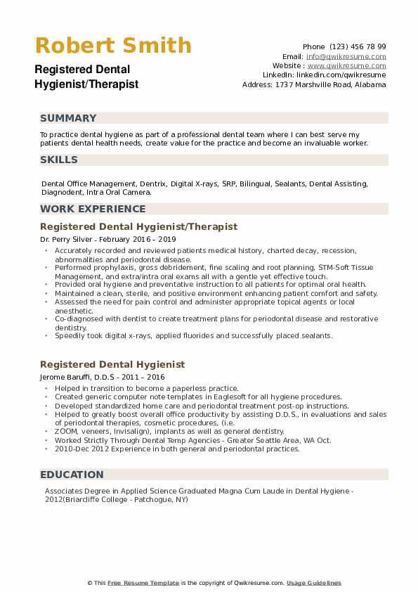 registered dental hygienist resume samples