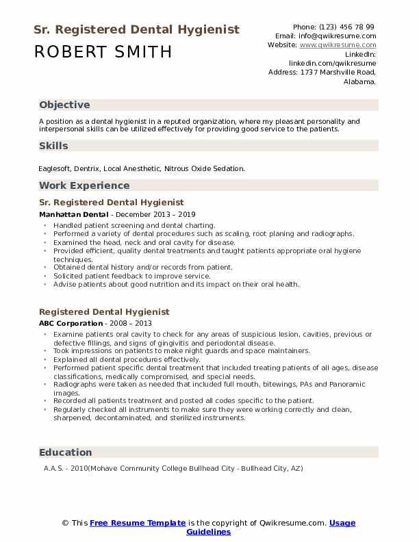 Sr. Registered Dental Hygienist Resume Format
