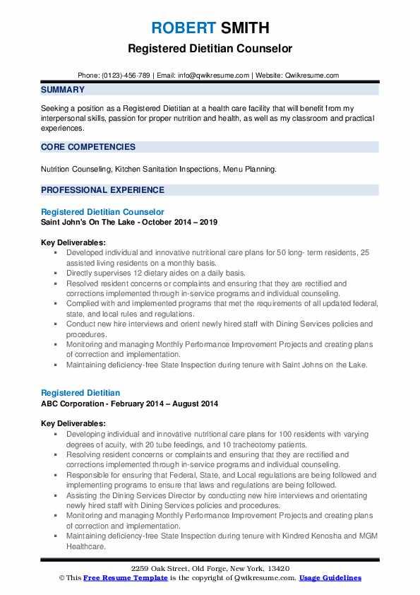 Registered Dietitian Counselor Resume Model