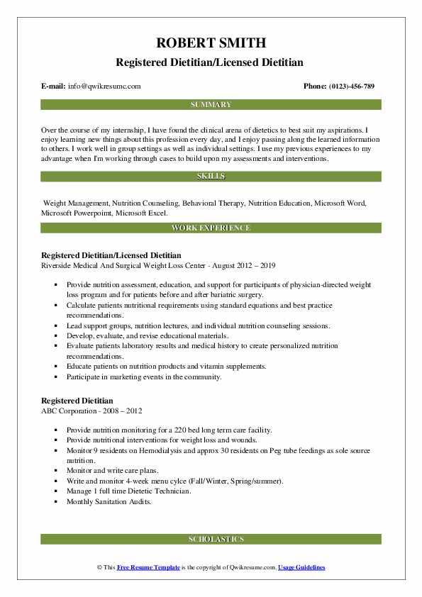 Registered Dietitian/Licensed Dietitian  Resume Example