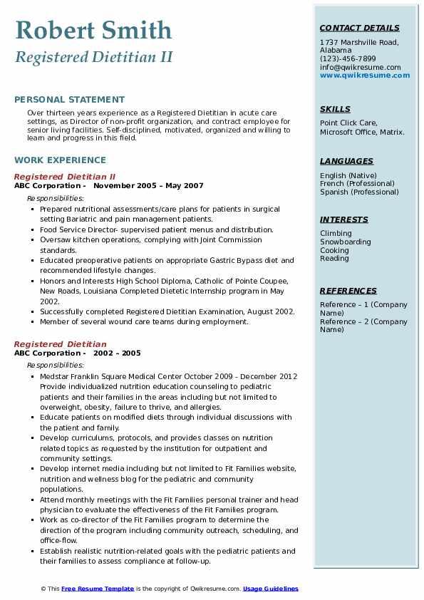 Registered Dietitian II Resume Example