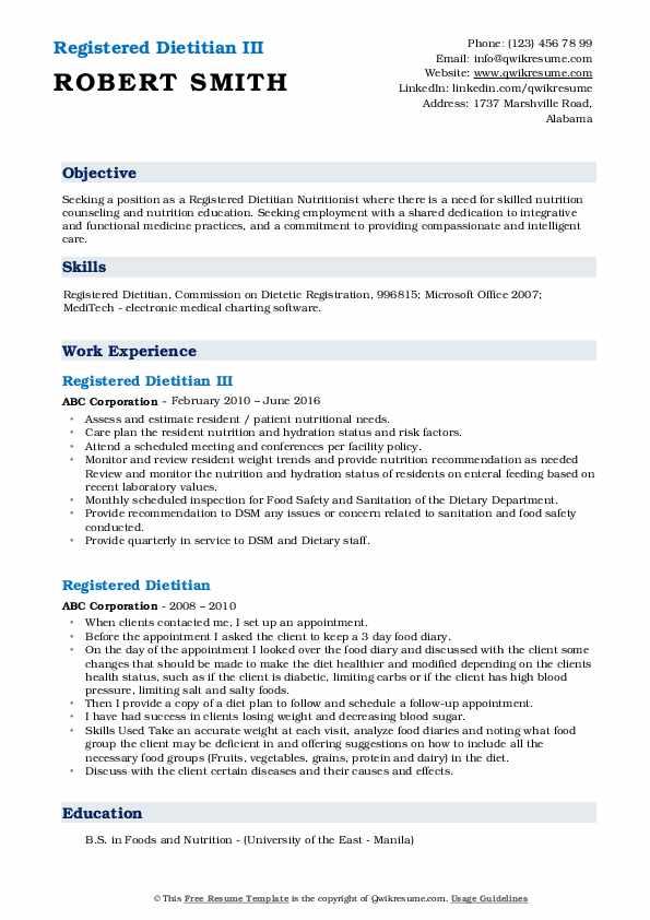 Registered Dietitian III Resume Format