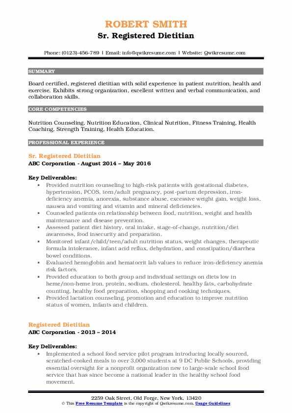 Sr. Registered Dietitian Resume Model