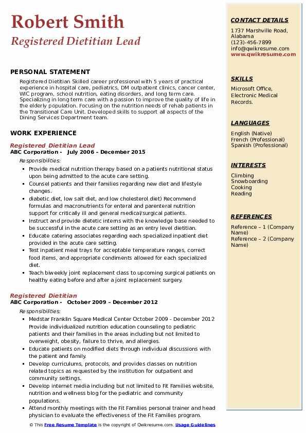 Registered Dietitian Lead Resume Template