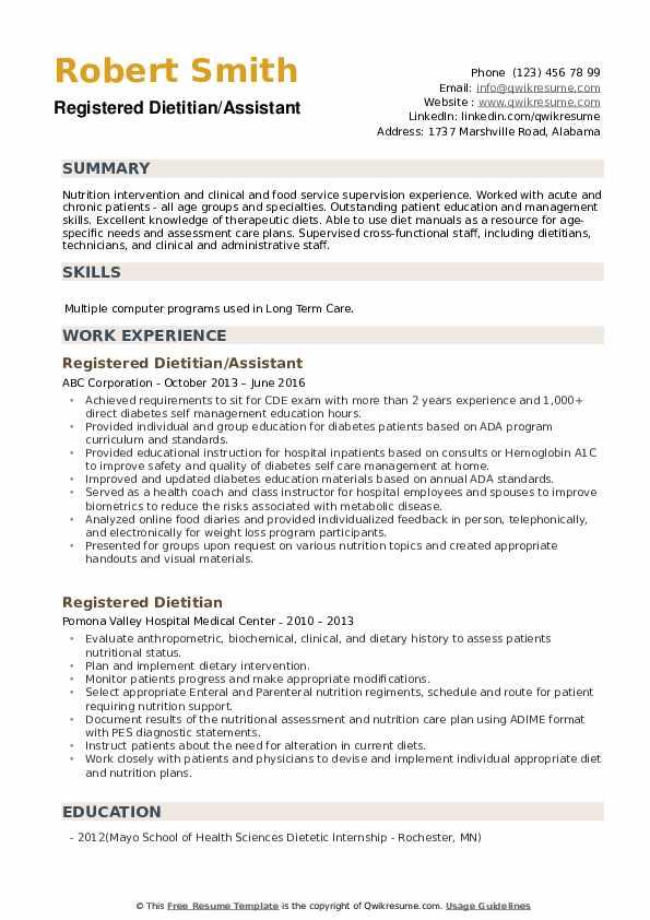 Registered Dietitian/Assistant Resume Format