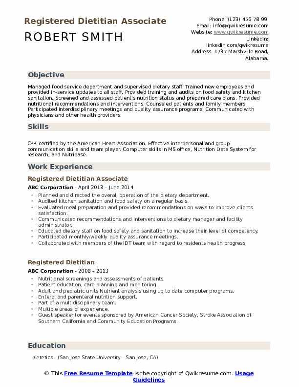 Registered Dietitian Associate Resume Model
