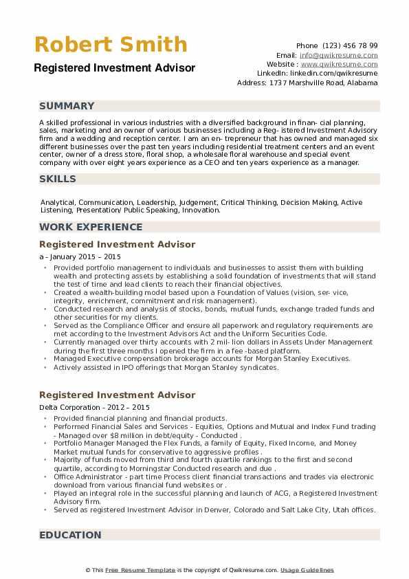Registered Investment Advisor Resume example