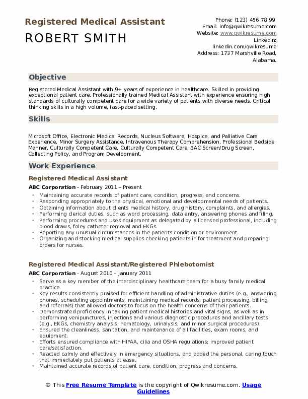 Registered Medical Assistant  Resume Model