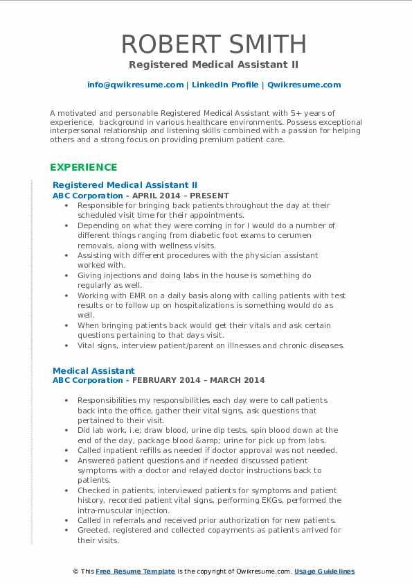 Registered Medical Assistant II Resume Template