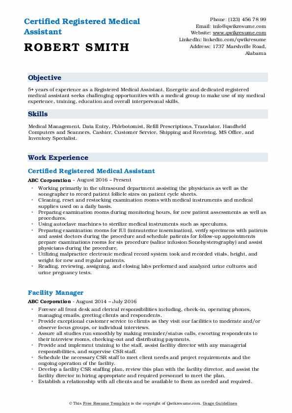 Certified Registered Medical Assistant Resume Format