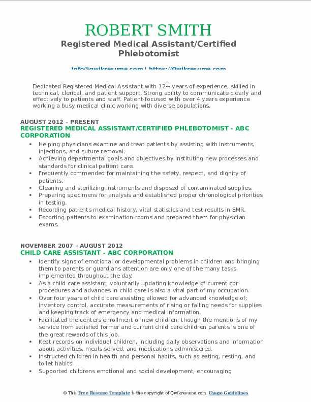 Registered Medical Assistant/Certified Phlebotomist Resume Format