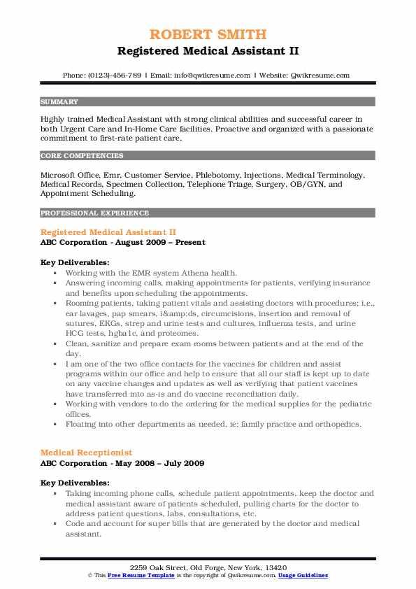 Registered Medical Assistant II Resume Model