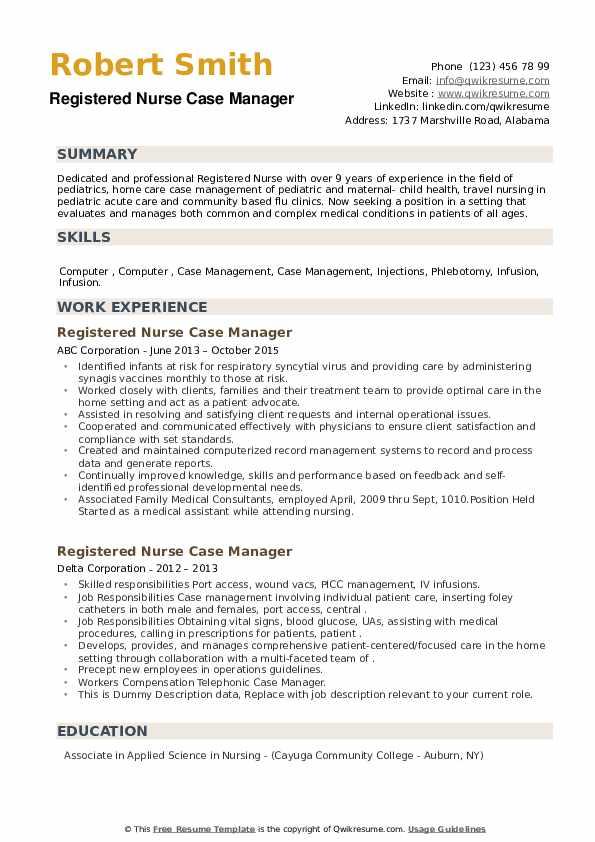 Registered Nurse Case Manager Resume example