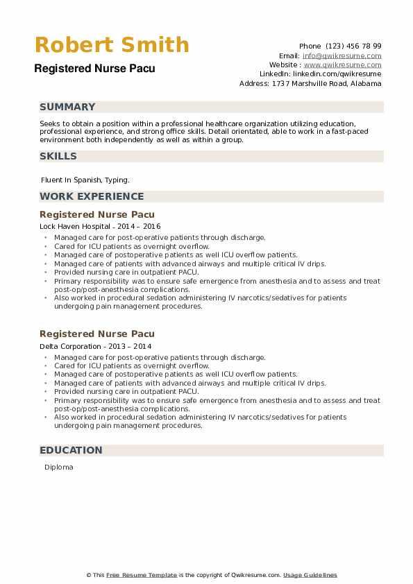 Registered Nurse Pacu Resume example