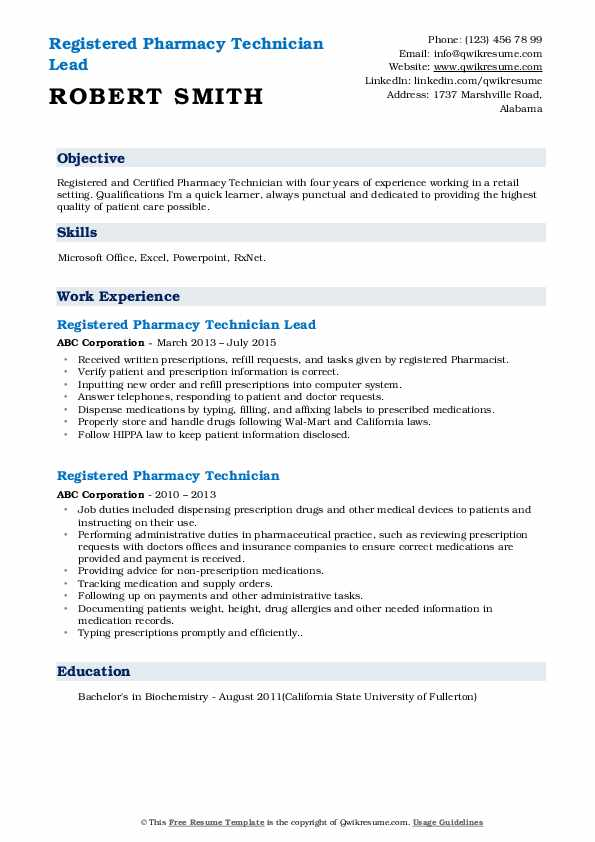 Registered Pharmacy Technician Lead Resume Example