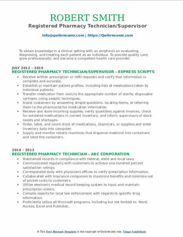 registered pharmacy technician resume samples  qwikresume