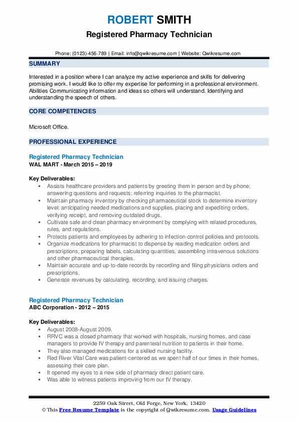 Registered Pharmacy Technician Resume example