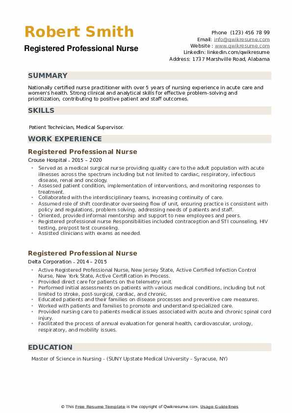 Registered Professional Nurse Resume example