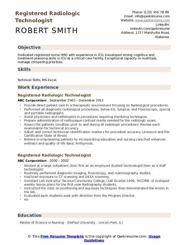 cover letter for resume radiologic technologist