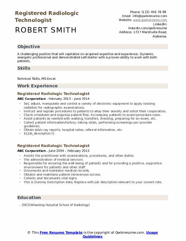 Registered Radiologic Technologist Resume example
