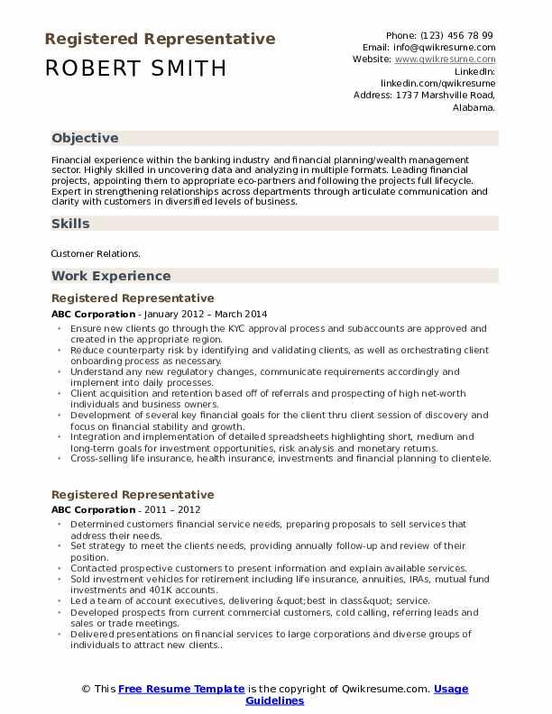 Registered Representative Resume Example