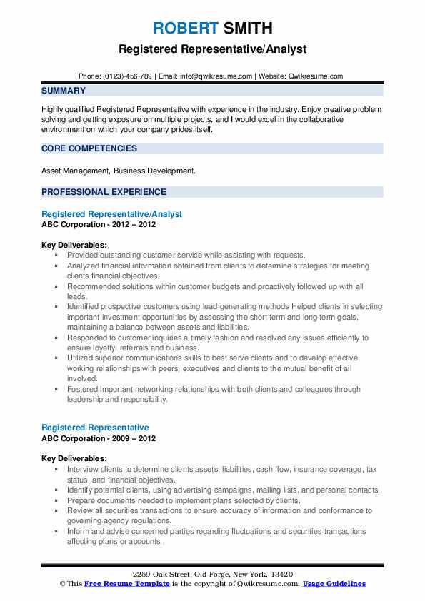 Registered Representative/Analyst Resume Format