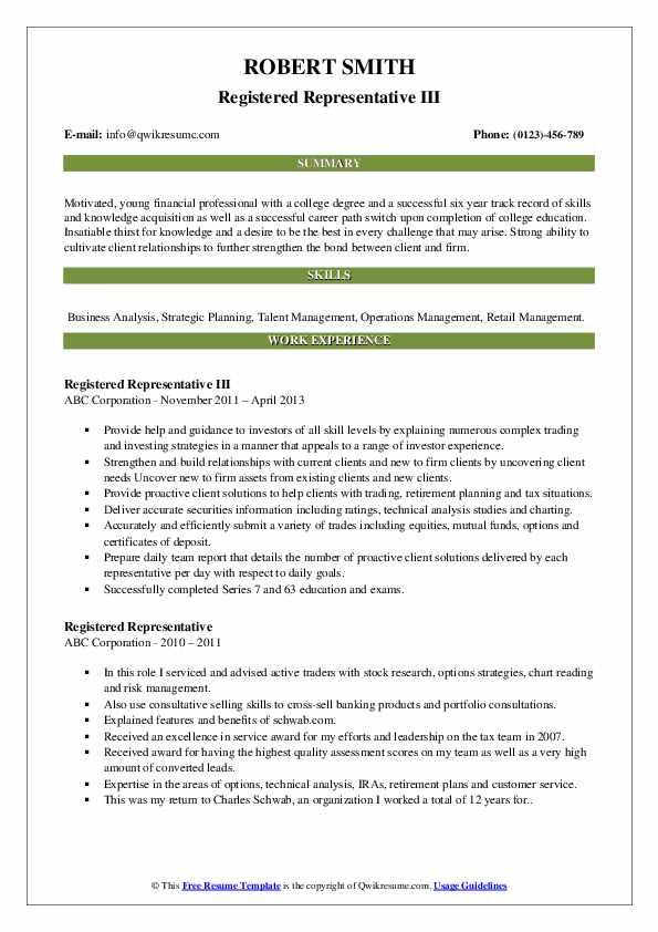 Registered Representative III Resume Sample