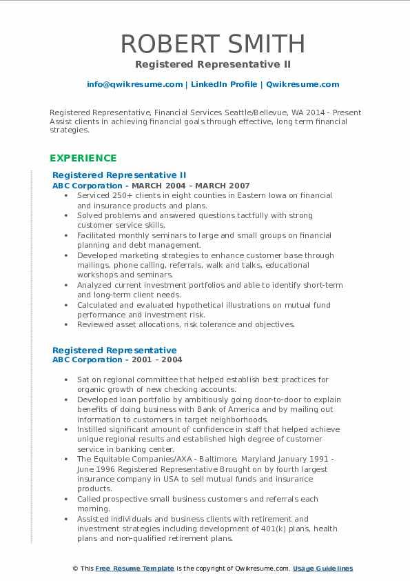 Registered Representative II Resume Format