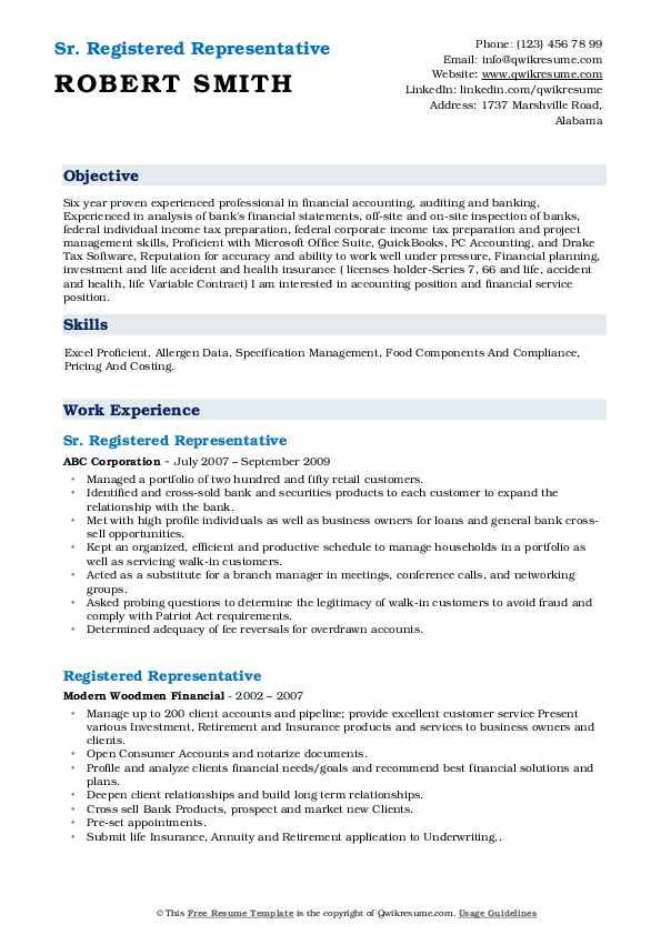 Sr. Registered Representative Resume Model