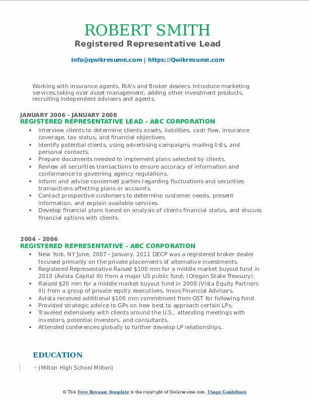 Registered Representative Lead Resume Format