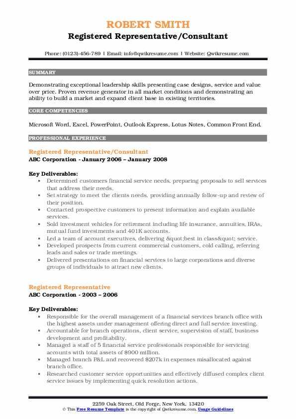 Registered Representative/Consultant Resume Sample