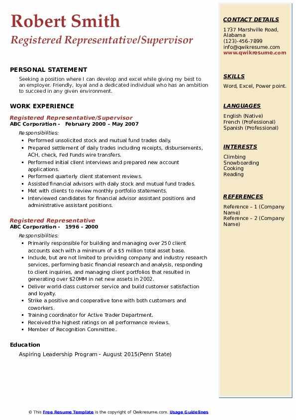 Registered Representative/Supervisor Resume Sample