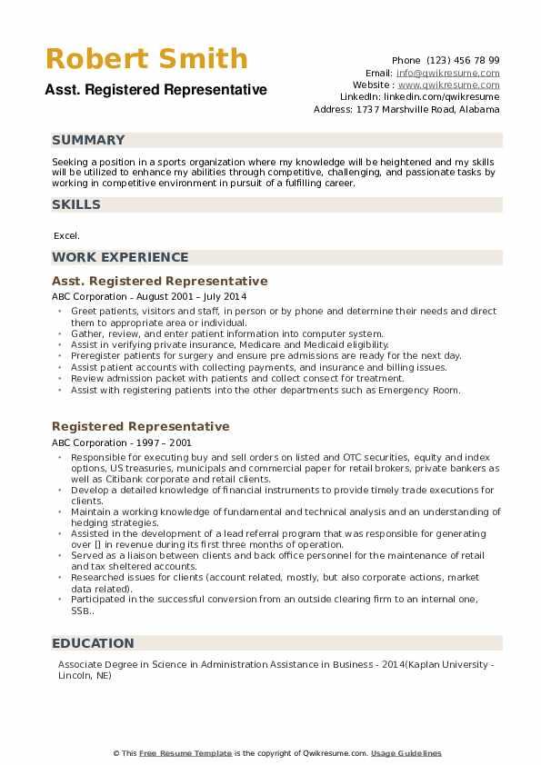 Asst. Registered Representative Resume Template