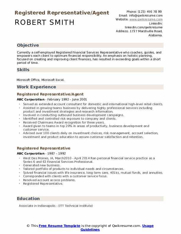 Registered Representative/Agent Resume Template