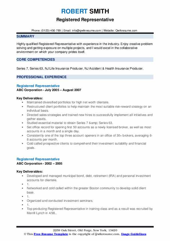 Registered Representative Resume example