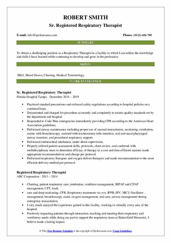 Registered Respiratory Therapist Resume Samples Qwikresume