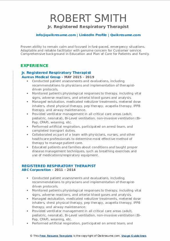 Jr. Registered Respiratory Therapist Resume Template