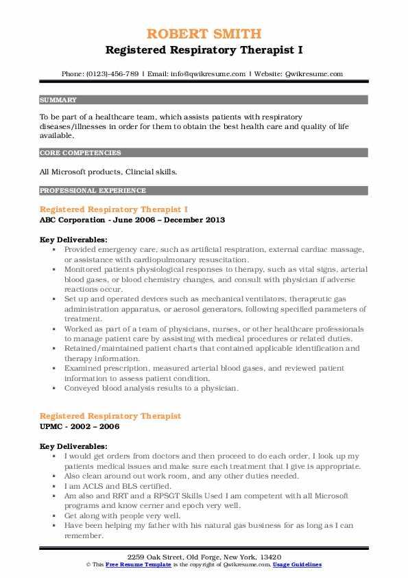 Registered Respiratory Therapist I Resume Format
