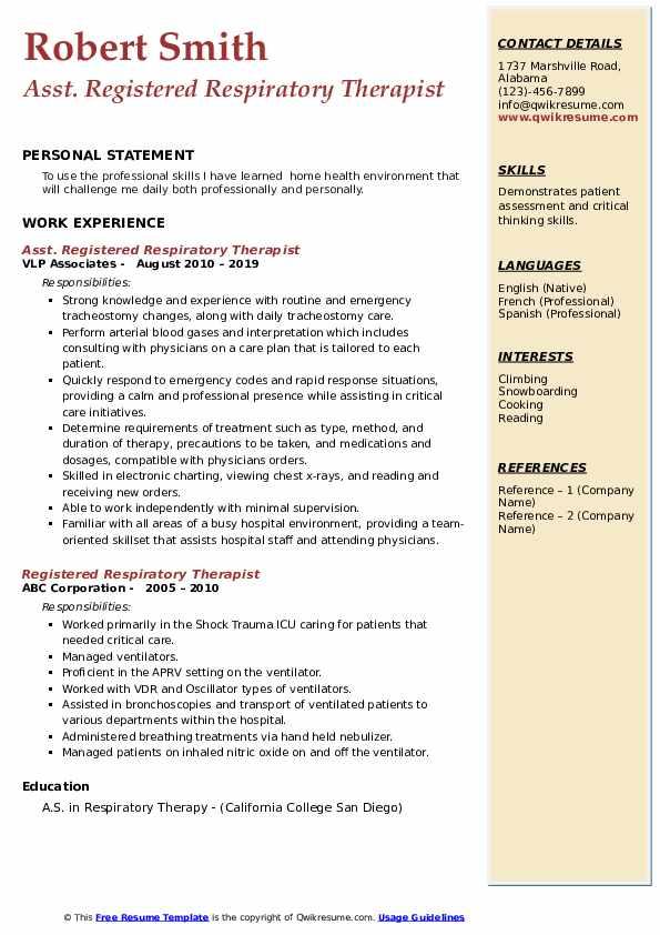 Asst. Registered Respiratory Therapist Resume Sample