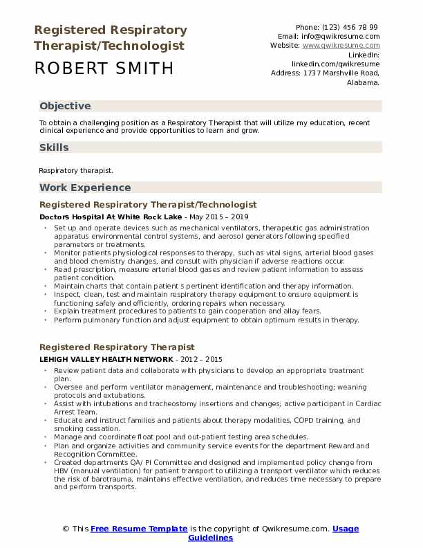 Registered Respiratory Therapist/Technologist Resume Sample