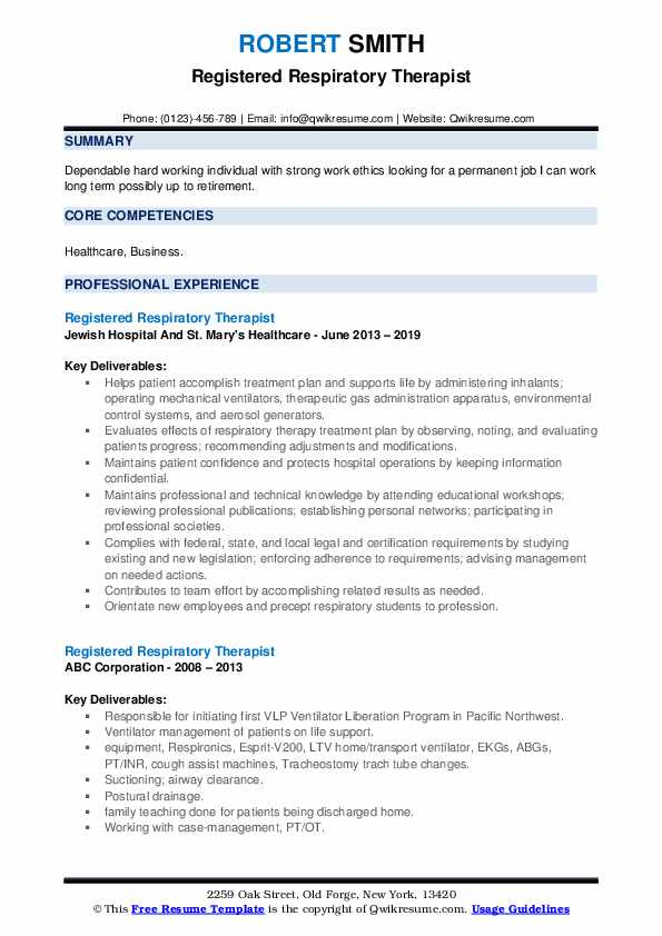 Registered Respiratory Therapist Resume example