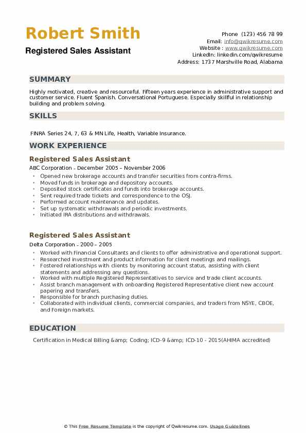 Registered Sales Assistant Resume example