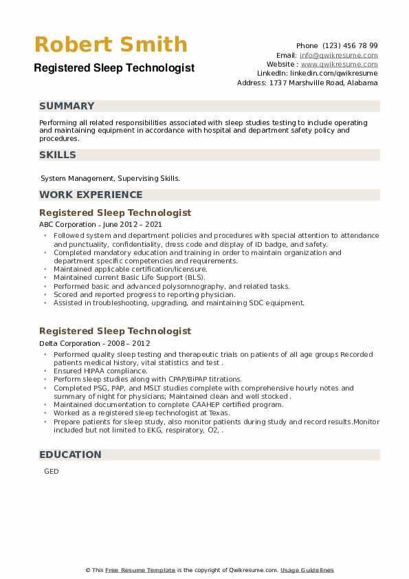 Registered Sleep Technologist Resume example