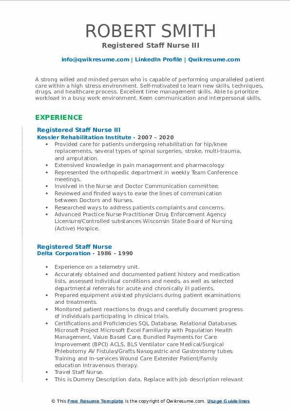 registered staff nurse resume samples