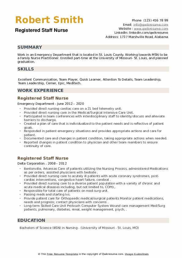 Registered Staff Nurse Resume example