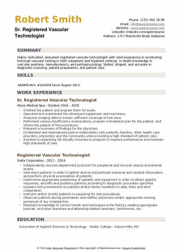 Registered Vascular Technologist Resume example