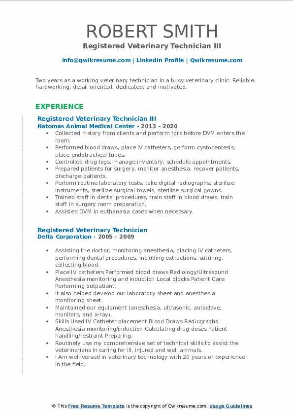 registered veterinary technician resume samples  qwikresume