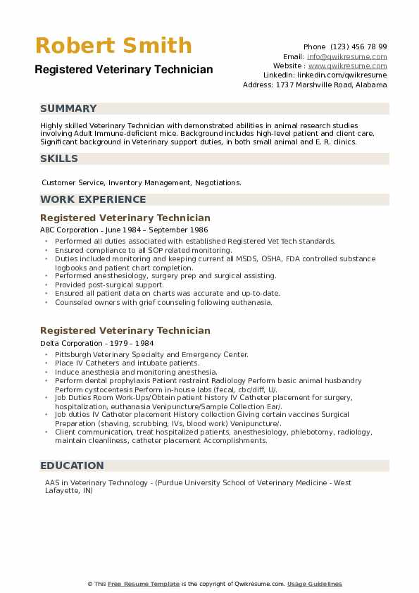 Registered Veterinary Technician Resume example