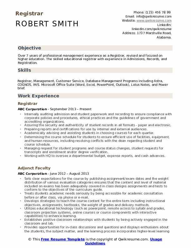 Registrar Resume Samples Qwikresume