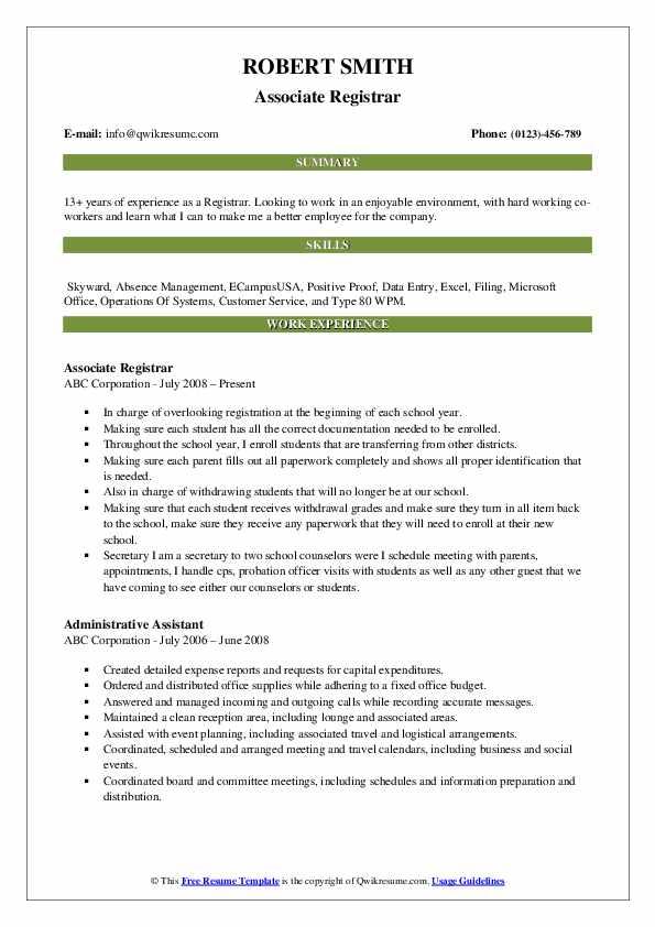 Associate Registrar Resume Template